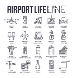 set business and tourist air trips thin line vector image