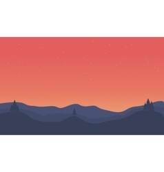 Silhouette of hill orange sky landscape vector