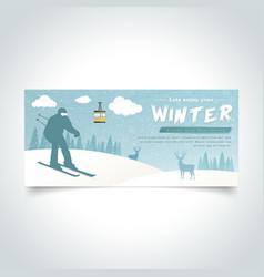 ski man silhoutte winter season banner vector image