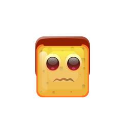 Smiling emoticon face neutral emotion icon vector