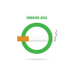 Smoking area green sign vector