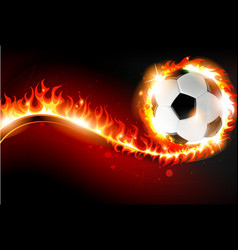 soccer ball with abstract fire vector image