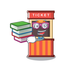 Student with book ticket booth in character vector