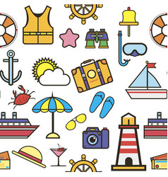 summer items vacation and holidays seamless vector image