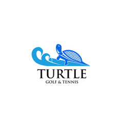 Turtle golf and tennis logo vector