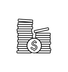 Two piles of coins hand drawn outline doodle icon vector