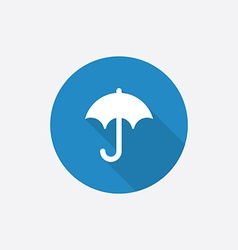 umbrella Flat Blue Simple Icon with long shadow vector image