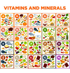 Vitamins and minerals big spreadsheet with vector