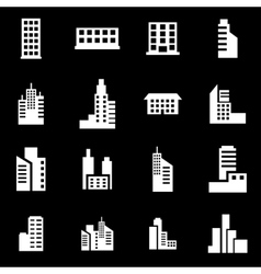 White building icon set vector