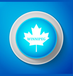 White canadian maple leaf with city name winnipeg vector