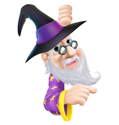 wizard peeping round sign vector image