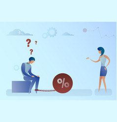 woman talk to business man chain bound legs credit vector image