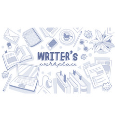 writer s workplace concept with centre text vector image