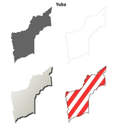 Yuba County California outline map set vector