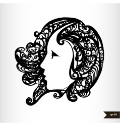 Zodiac signs black and white - Virgo vector image