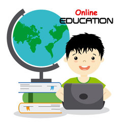 boy studying online vector image vector image