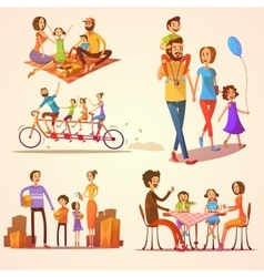 Family Retro Cartoon Set vector image vector image