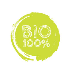 grunge bio 100 percent natural rubber stamp vector image