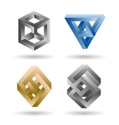 impossible 3d shape set vector image