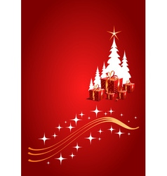Red Christmas background with gifts vector image vector image