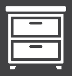 bedside table solid icon furniture and interior vector image