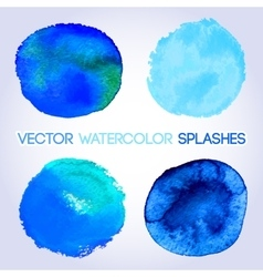 Blue watercolor round shaped design elements vector image