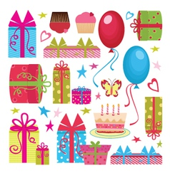 colorful birthday party set vector image vector image