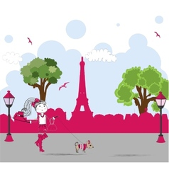 girl with cute little dog in paris vector image