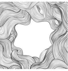 hair outline background wavy hair frame beauty vector image
