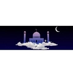 Ramadan Kareem greeting with mosque on heaven vector image