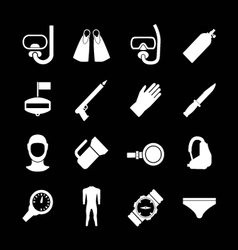 Set icons of diving vector image