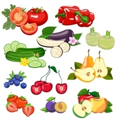 Set of vegetables and fruits vector image