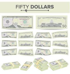 50 dollars banknote cartoon us currency vector image vector image