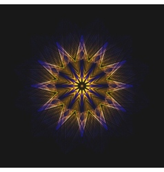 abstract flame star on black background vector image