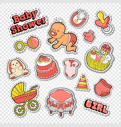 baby shower doodle with girl toys vector image vector image