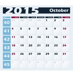 Calendar 2015 October design template vector image vector image