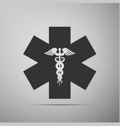 emergency star - medical symbol caduceus snake vector image vector image