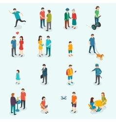 Isometric 3d people Set of woman and man vector image vector image