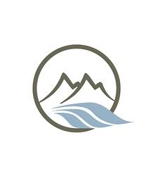 Mountain river abstract line logo vector