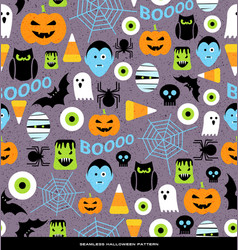 seamless pattern of various halloween icons vector image