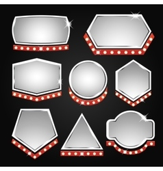 Silver banners frame with lights vector image vector image