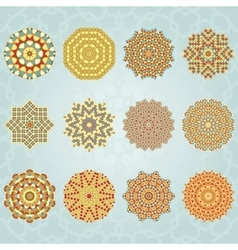 Snowflake geometric vintage colors set vector image