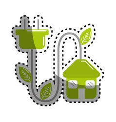 Sticker green house with reduce power cable icon vector