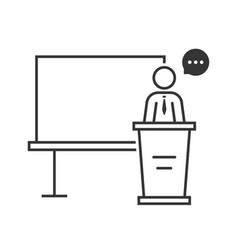 thin line spokesperson with black board vector image vector image