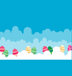 easter with egg on cloud landscape vector image