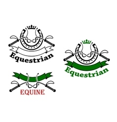 Equestrian sport emblems with whips and horseshoes vector image vector image