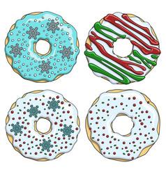 set cartoon colorful christmas donuts vector image vector image