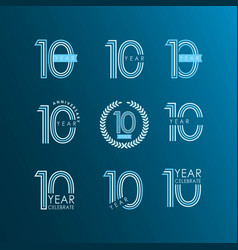 10 year anniversary celebrate set template design vector image