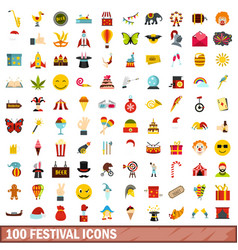 100 festival icons set flat style vector image