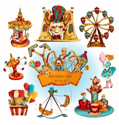 Amusement Park Colored Set vector